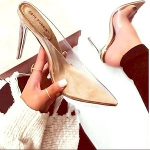 Clear nude heels